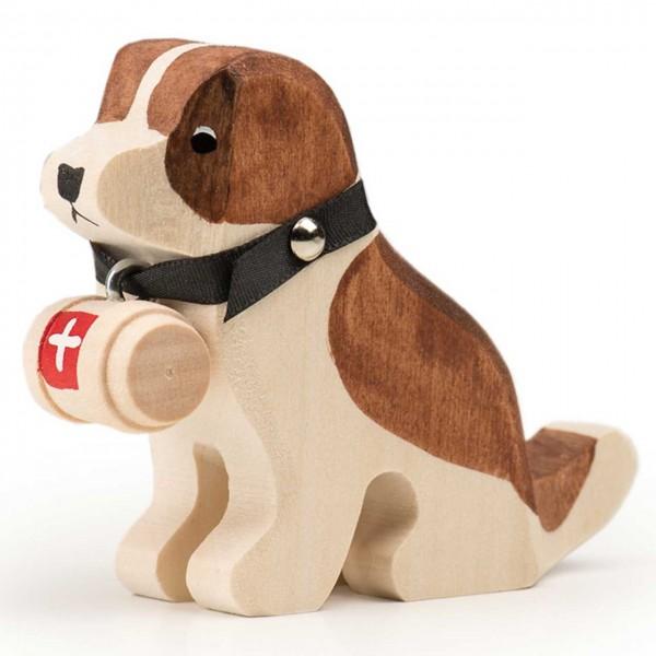 Trauffer Hund Barry sitzend mit Fässchen