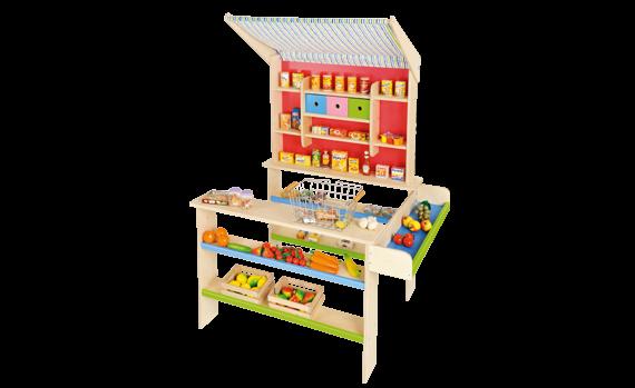 Kinderkaufladen mit Textildach 52cm