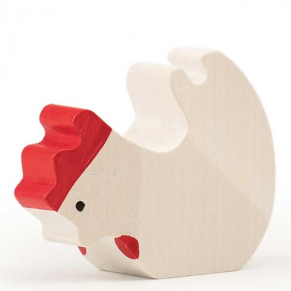 Trauffer Huhn fressend weiss