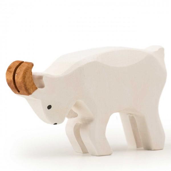 Trauffer Ziegenbock kämpfend weiß