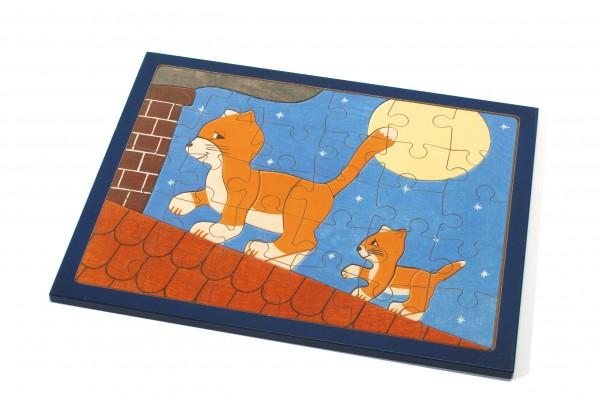 """Puzzle Katze auf dem Dach"""" groß"""""""