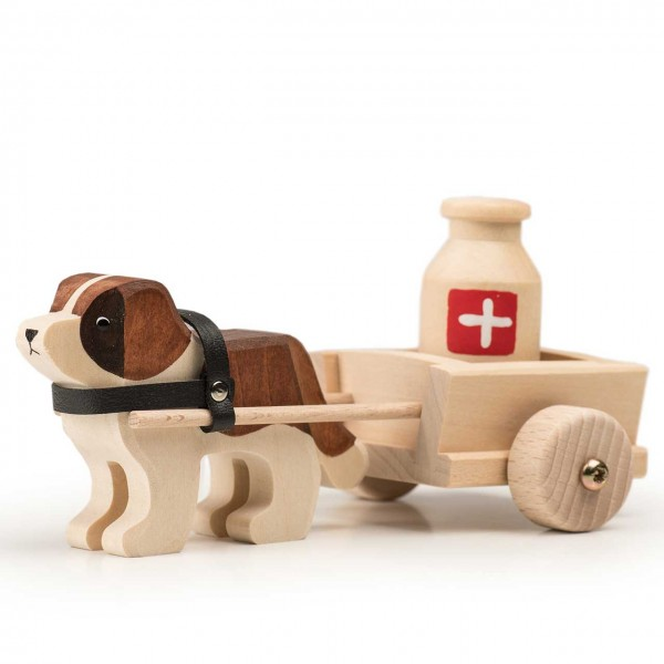 Trauffer Hund Barry mit Wagen